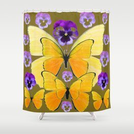 SPRING PURPLE PANSY FLOWERS & YELLOW BUTTERFLIES GARDEN Shower Curtain