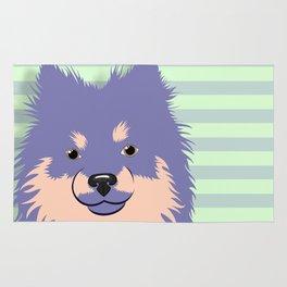 Olie the Pomeranian in Purple Rug