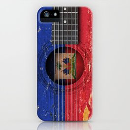 Old Vintage Acoustic Guitar with Haitian Flag iPhone Case