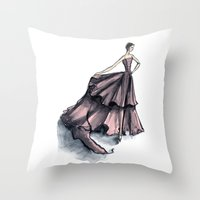 givenchy Throw Pillows featuring Audrey Hepburn in Pink dress vintage fashion by Notsniw