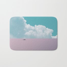 Abstract minimalist scenic view of calm sea with boat Bath Mat