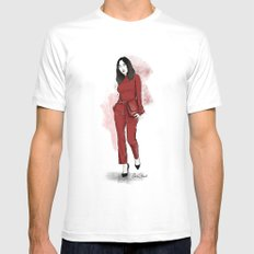 Lady in red Mens Fitted Tee MEDIUM White