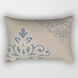 Scroll Damask Art I (outline) Crm Blues Sand Rectangular Pillow