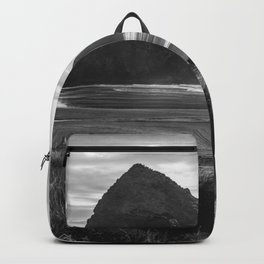 Cannon Beach Sunset - Black and White Nature Photography Backpack