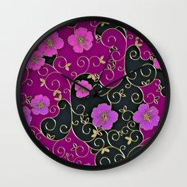 Gold Metallic, Purple Floral on Black Wall Clock