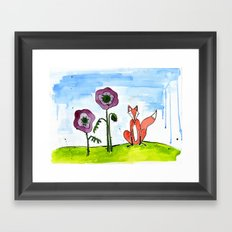 Fox with Poppies Framed Art Print