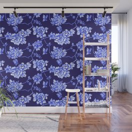 Chinoiserie Foral Navy Wall Mural