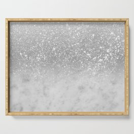 White Marble Silver Ombre Glitter Glam #1 #shiny #gem #decor #art #society6 Serving Tray
