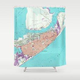 Vintage Map of Galveston Texas (1954) Shower Curtain