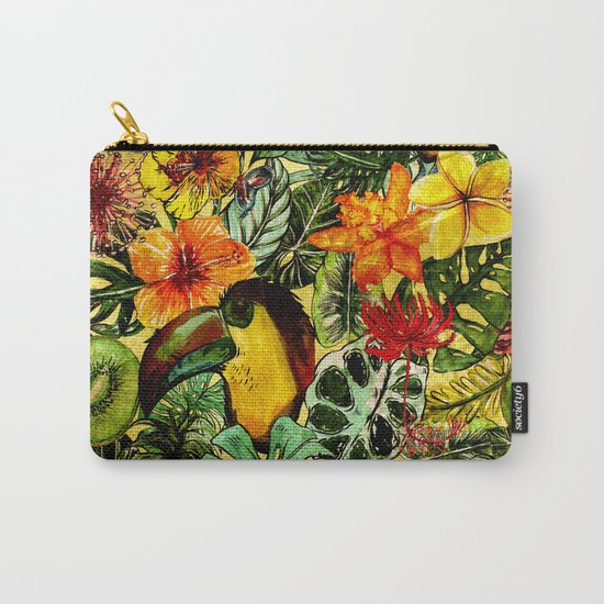 Tropical Vintage Exotic Jungle Flower Flowers - Floral watercolor pattern on #Society6 Carry-All Pouch