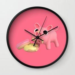 Rosa the pig eating Donuts Wall Clock