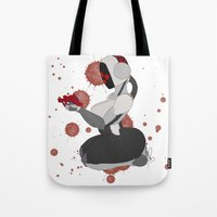 robot Tote Bags featuring Robot by Aeternial