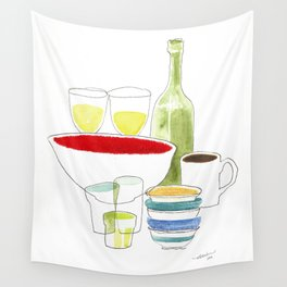 Bowls and Glasses Wall Tapestry