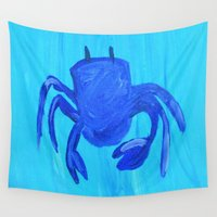 crab Wall Tapestries featuring Crab by Lissasdesigns