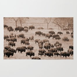 Buffalo Herd in Sepia Rug
