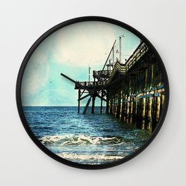 Cherry Grove SC Fishing Pier, The Other Side Wall Clock