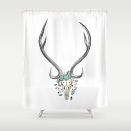 Floral Stag Skull Shower Curtain