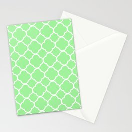 Lime Green Quatrefoil Stationery Cards
