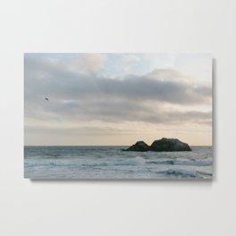 Misty Sunset over Pacific Ocean Metal Print