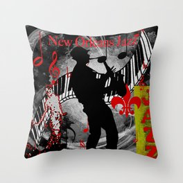 New Orleans Jazz Saxophone And Piano Music Throw Pillow