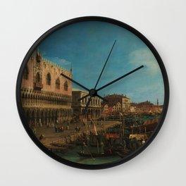 Venice, Italy - The Pier Towards Riva degli Schiavoni by Canaletto Wall Clock