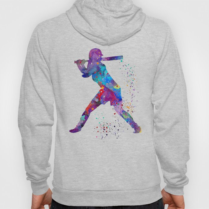 Girl Baseball Softball Batter Watercolour Sports Art Colorful Baseball Print Hoody
