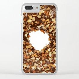 Overfill milk chocolate doughnut Clear iPhone Case