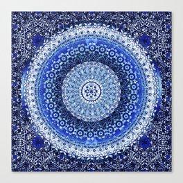 Cobalt Tapestry Mandala Canvas Print
