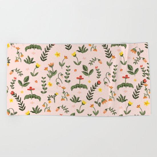 Bright Pink Floral Garden Beach Towel