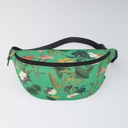 Vintage wild flowers green Fanny Pack