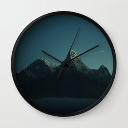 Magic Mountains Against Night Sky Wall Clock