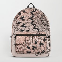 Boho black watercolor floral mandala rose gold glitter ombre pastel blush pink Backpack