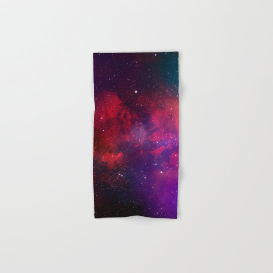 Purple & Red Watercolor Space Pattern Hand & Bath Towel