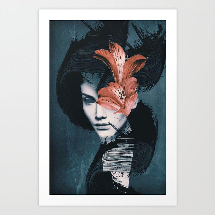 Red Flowers/Lady Portrait Kunstdrucke