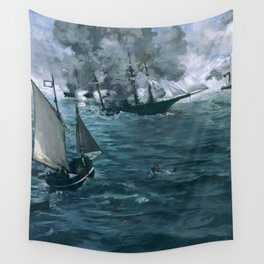 """Édouard Manet - The Battle of the U.S.S. """"Kearsarge"""" and the C.S.S. """"Alabama"""" Wall Tapestry"""
