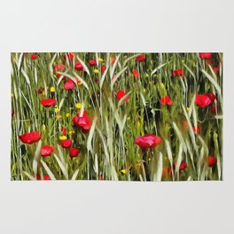 Red Poppies In A Cornfield Rug