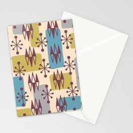 Mid Century Modern Abstract Atomic Diamonds 424 Stationery Cards