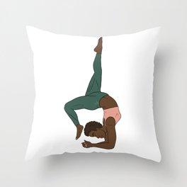 Beautiful Forest African Yogi in Kemetic Yoga Pose Throw Pillow