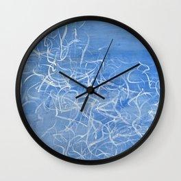 Blue Scribbling Writing Wall Clock