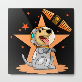 Funny cartoon dog astronaut in galaxy with stars Metal Print