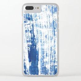 Steel blue streaked watercolor pattern Clear iPhone Case