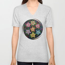 All the Colors of the Flowers - Columbine Shine Unisex V-Neck