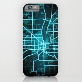 Joliet, IL, USA, Blue, White, Neon, Glow, City, Map iPhone Case