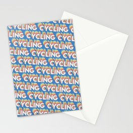 Cycling Trendy Rainbow Text Pattern (Blue) Stationery Cards
