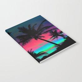 Deep Pink Palm Tree Sunset Notebook