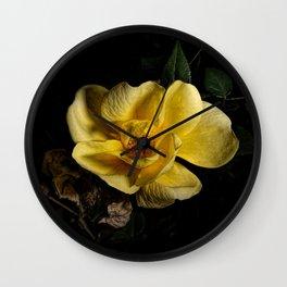 Yellow rose on black -2 Wall Clock
