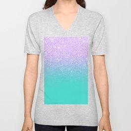 Modern mermaid lavender glitter turquoise ombre pattern Unisex V-Neck