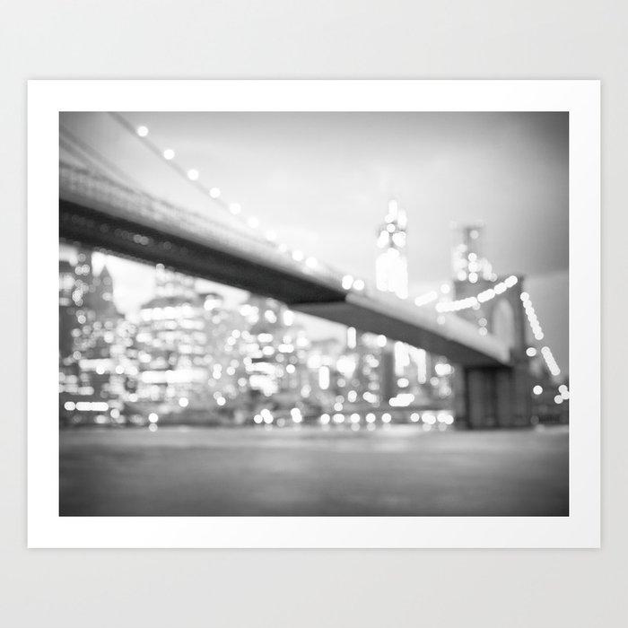 New York City Lights and the Brooklyn Bridge Art Print