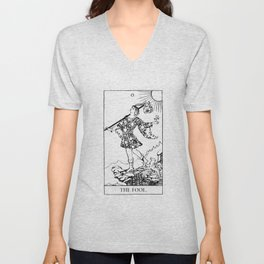 The Fool: Black and White Line Art Unisex V-Neck