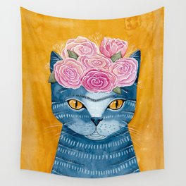 Frida Catlo in Blue Wall Tapestry